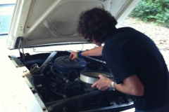 Connor-working-on-Mustang